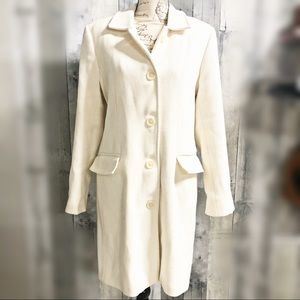 Old Navy cream colored wool blend pea coat large